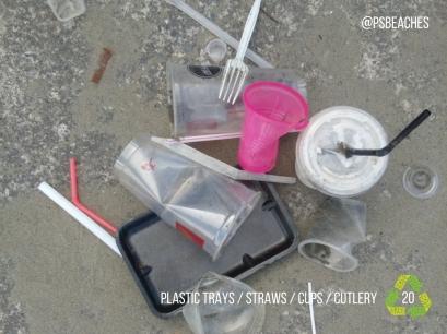 Plastic Trays straws cups cutlery
