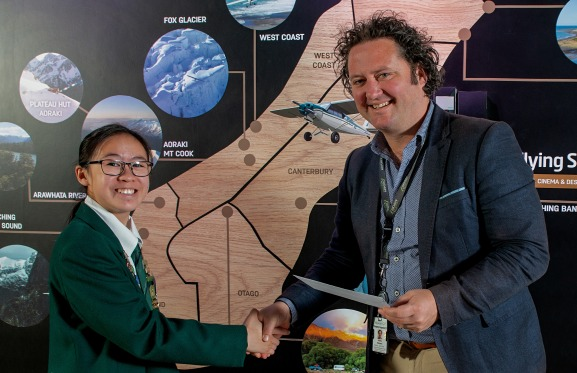 E Wen Wong with Justin Watson, Chief Aeronautical and Commercial Officer of Christchurch Airport